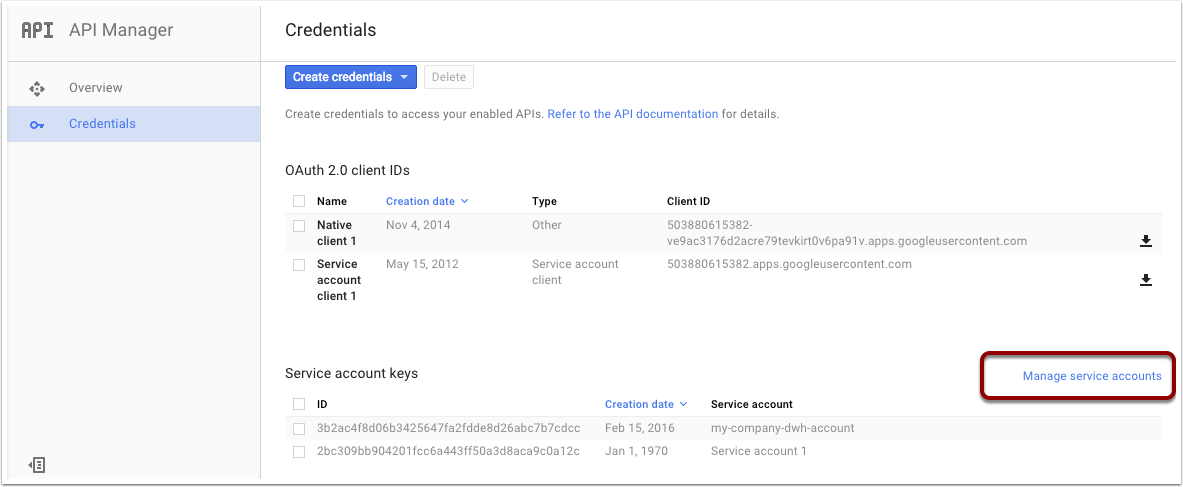 Create a Google Service Account